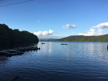 A bright day on Windermere stock image