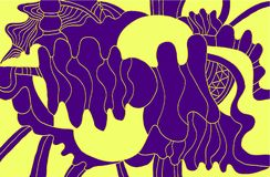 Bright decorative abstract background, violet yellow color, psyc Stock Photos