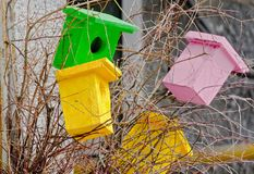 Bright decorative wooden birdhouses Royalty Free Stock Image