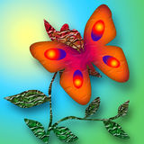 Bright Decorative Butterfly. Bright butterfly on the flower sunny decorative illustration Stock Photos
