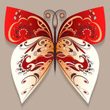 Bright decorative butterfly. In warm colors with an abstract pattern on a warm background Royalty Free Stock Photography