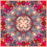 Bright decorative floral ornament. Can be used for cards, bandana prints, kerchief design Royalty Free Stock Images