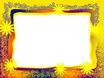 Bright Decorative Frame. With Yellow Flowers, Lacy Stars and Blank White Background Royalty Free Stock Image