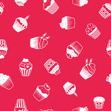 Bright decorative pattern with muffins Royalty Free Stock Photo