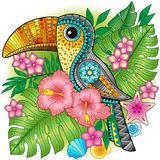 A bright decorative toucan among exotic plants and flowers. Vector image for print on clothes, textiles, posters, invitations Royalty Free Stock Image