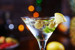 Bright delicious glass of cold martinis with Royalty Free Stock Images