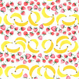 Bright delicious sweet cute lovely tasty yummy summer strawberries and banana pattern watercolor Royalty Free Stock Images