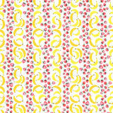 Bright delicious sweet cute lovely tasty yummy summer strawberries and banana pattern watercolor Royalty Free Stock Photo