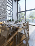 Bright design of dining with panoramic windows Stock Photography