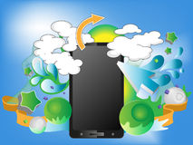 Bright design with smart-phone Stock Image
