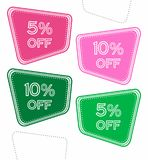 Set of colorful sale stickers, labels, tags with 5% and 10% off. Bright design for stickers, web page ad, tickets, discount offer price labels, badges, coupons vector illustration