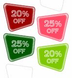 Set of colorful sale stickers, labels, tags with 20% and 25% off. vector illustration