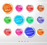 Set of colorful abstract rounded sale stickers, labels, tags. Bright design for stickers, web page ad, tickets, discount offer price labels, badges, coupons stock illustration
