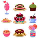 Bright Dessert Icons Set Vector Illustration Stock Image