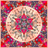 Bright detailed floral ornament. Can be used for cards, bandana prints, tablecloths and napkins. Stock Photography
