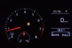 Bright dial speedometer. In the dark closeup Stock Photos