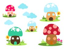Bright different types of mushrooms set. Card in cartoon style. On white background - Vector royalty free illustration