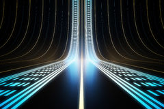 Bright digital lines. On dark background. 3D Rendering Stock Photography
