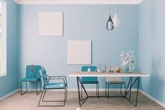 Bright dining room interior in blue walls room royalty free stock photography