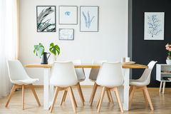 Bright dining room. Bright spacious dining room with wooden big table stock image