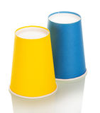 Bright disposable paper cups isolated on white. Stock Images