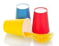 Bright disposable paper cups and plastivovye fork isolated on white. Royalty Free Stock Photography