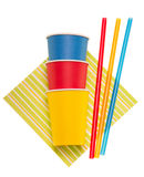 Bright disposable paper cups, straws and napkin isolated on white. Royalty Free Stock Photography