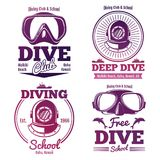 Bright diving school or dive club emblem set design. Vector illustration Royalty Free Stock Photos