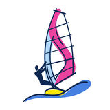 Bright Doodle Illustration of Windsurfer on Windsurfing board with Sail and Big Wave Royalty Free Stock Images