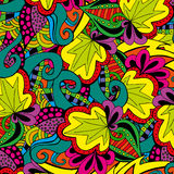 Bright doodle pattern, colorful spring background. Stock Photos