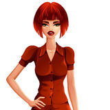 Bright drawing of gorgeous red-haired sexy Caucasian business Stock Images