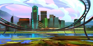 Bright drawn fantastic future landscape with skyscrapers stock photography