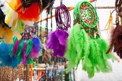 Bright dreamcatchers at the market stock photo