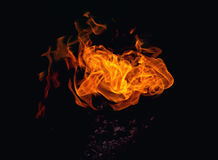 Bright dynamic fire. On an isolated black background Royalty Free Stock Photo