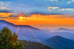 Bright early morning sunrise on the Blue Ridge Parkwy royalty free stock photography