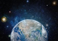 Earth, galaxy and sun. Elements of this image furnished by NASA. Royalty Free Stock Photography