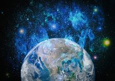 Earth, galaxy and sun. Elements of this image furnished by NASA. Royalty Free Stock Images
