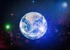 Earth, galaxy and sun. Elements of this image furnished by NASA. Royalty Free Stock Photos