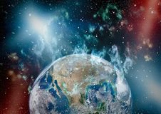 Earth, galaxy and sun. Elements of this image furnished by NASA. Stock Image