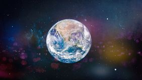 Earth, galaxy and sun. Elements of this image furnished by NASA. Stock Images