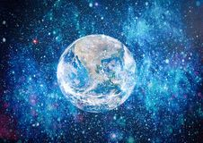 Earth, galaxy and sun. Elements of this image furnished by NASA. Stock Photo