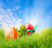 Bright easter egg on grass over blue sky with sunrays Royalty Free Stock Photography
