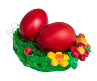Bright Easter eggs in a pot Royalty Free Stock Images
