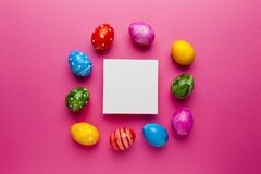 Free Bright Easter Eggs With Copy Space For Text On Pink Background. Retro Colorful Spring Decoration Royalty Free Stock Images - 175284729