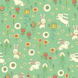 Bright Easter pattern with rabbits Royalty Free Stock Image