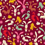 Bright Easter pattern with rabbits Stock Photography