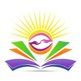 Education emblem for bright friendly knowledge sharing logo. Bright education system emblem for friendly knowledge sharing concept teamwork cooperation finding vector illustration