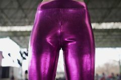 Bright elastic women leather legging stock photo