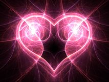 Bright electric current heart on black background Stock Photo
