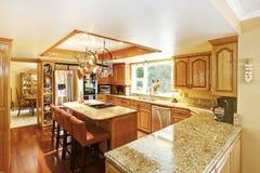Bright elegant kitchen room Stock Images
